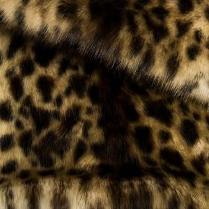 Luxus Webpelz Beige/Braun Leopard Imitation Kunstpelzstoff am Meter – 1481 Snow Leopard Beige Brown