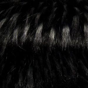 Luxus Webpelz Kunstpelzstoff am laufenden Meter, Waschbärimitat Schwarz mit dunkelgrauem tipprint – 1546 Grey Black Raccoon