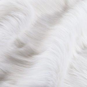 Luxus Webpelz Langhaarig Webpelz Fuchsimitation am laufenden Meter, Farbe Superweiß – 7552 S.White
