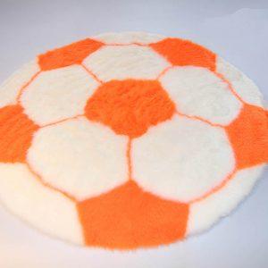 Fertigprodukte Fußballteppich – weiß mit orange – 70 cm Durchmesser