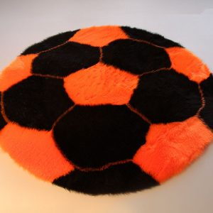 Fertigprodukte Fußballteppich – schwarz mit orange – 70 cm Durchmesser