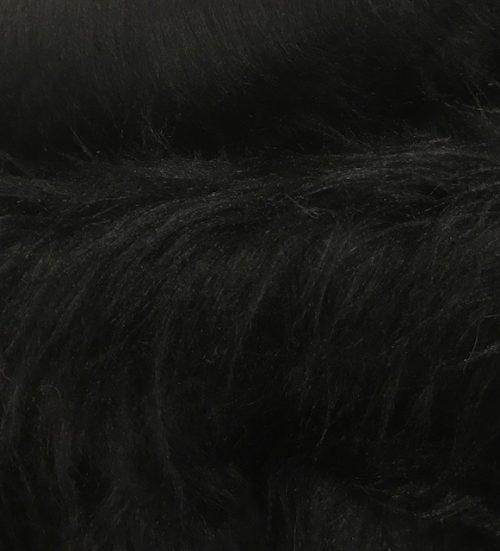 Webpelz Stoff als Meterware Preiswert schwarz langhaariges Kunstfell – AC356-Schwarz