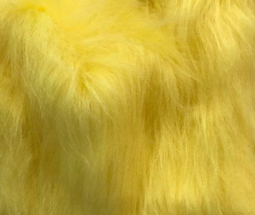 Webpelz Stoff als Meterware Preiswert gelb langhaariges Kunstfell – AC356-Flavine
