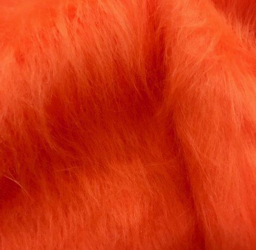 Webpelz Stoff als Meterware Preiswert Mandarine Orange langhaariges Kunstfell – AC356-Tangerine