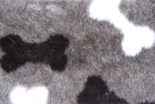 Kunstpelzstoff für Haustiere Grauer Budget Pelzimitat mit Hundeknochen für Hundekissen – R2/60/3 /8mm /LP YF 1150/1 Bones