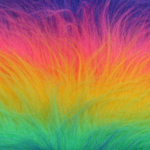 Günstig kaufen Regenbogen Kunstpelzstoff am laufenden Meter für Verkleidung, Kostüme, Cosplay – YF 59/4 1084/1