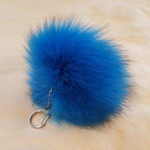 Fertigprodukte Premium Pompon Schlüsselanhänger, blau