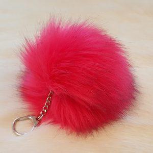 Fertigprodukte Premium Pompon Schlüsselanhänger, leuchtend rosa