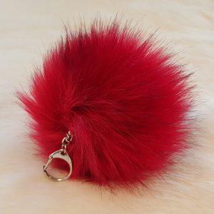 Fertigprodukte Premium Pompon Schlüsselanhänger, rot