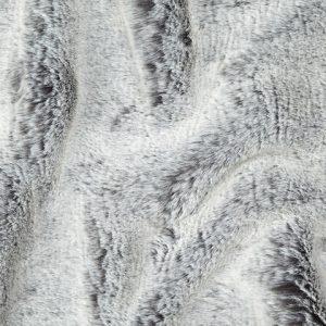Luxus Webpelz Kaninchenstil Kunstpelzstoff am laufenden Meter Grau/Weiß – 1551 Grey White