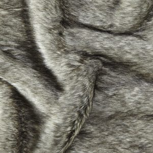 Luxus Webpelz Mittel-Langhaarig Webpelz Fuchsimitation am laufenden Meter, dunkelgrau/hellgrau – 1552 Charcoal Grey