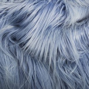 Luxus Webpelz Kunstpelz Stoff meterware mit langen Haaren im Yeti-Stil, Lila/Weiß – 1568 Cornflower/White