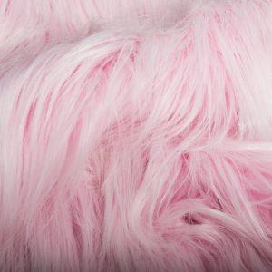 Luxus Webpelz Kunstpelz Stoff meterware mit langen Haaren im Yeti-Stil, Hellrosa / Weiß – 1568 Lt.Pink/White