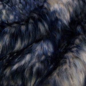 Luxus Webpelz Mehrfarbiger Kunstpelzstoff in Blautöne – 1597 Blue/Grey