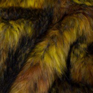 Luxus Webpelz Mehrfarbiger Kunstpelzstoff in Gelbtöne – 1597 Brown/Gold