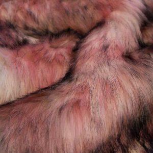 Luxus Webpelz Mehrfarbiger Kunstpelzstoff in Rosatöne – 1597 Pink/Grey