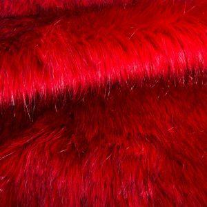 Luxus Webpelz Langhaarig Webpelz Fuchsimitation am laufenden Meter, Rot – 7552 Scarlet