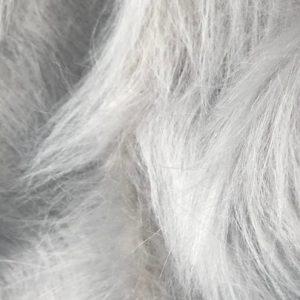 Webpelz Stoff als Meterware Preiswert Silbergrau langhaariges Kunstfell – AC356-Silver-Grey