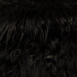 Luxus Webpelz Langhaarig Webpelz am laufenden Meter Mongolisches Lamm Imitation, schwarz – 8104 Black