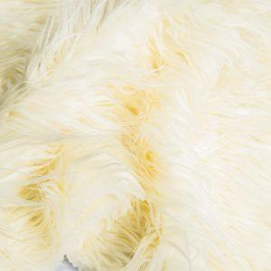 Luxus Webpelz Langhaarig Webpelz am laufenden Meter Mongolisches Lamm Imitation, Weiß – 8104 Natural