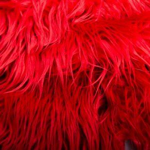 Luxus Webpelz Langhaarig Webpelz am laufenden Meter Mongolisches Lamm Imitation, Rot – 8104 Red