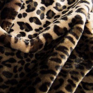 Luxus Webpelz Beige/Braun Leopard Imitation Kunstpelzstoff am Meter – 1362 Stone