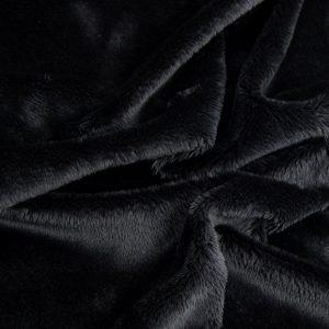 Luxus Webpelz Schwarzer kurzhaariger Webpelzstoff am laufmeter – 2R340 Black