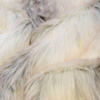 Luxus Webpelz Kunstpelzstoff am laufenden Meter, Wolf Pelz imitat, beige/weiß – 7539 Snow Fox
