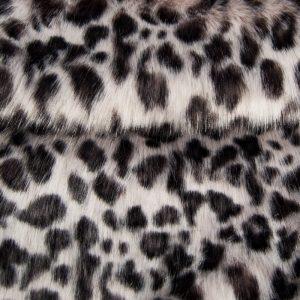 Luxus Webpelz Grau Leopard Imitation Kunstpelzstoff am Meter – 1541 Grey Leopard