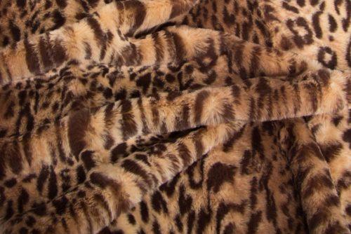 Luxus Webpelz Brauner Leopard Webpelzstoff am laufmeter – 2RK362 Beige/Brown